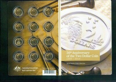 2018 Australia 30th Anniversary of $2 coin uncirculated in Folder 12 coins
