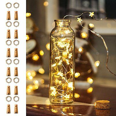 20LED Strip Wine/Beer Bottle Cork Fairy Light Gold Wire Warm/White Multi-Colour√