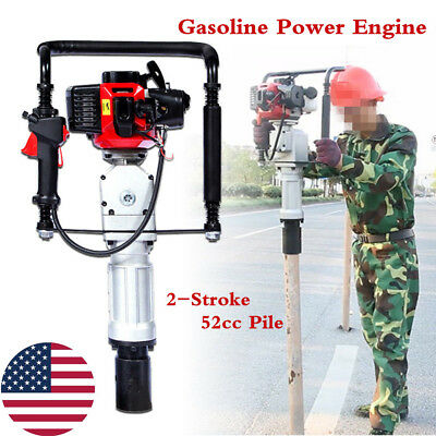 2Stroke 52cc Gasoline Petrol Pile Drivers Post Garden Fencing Engine Air cooling