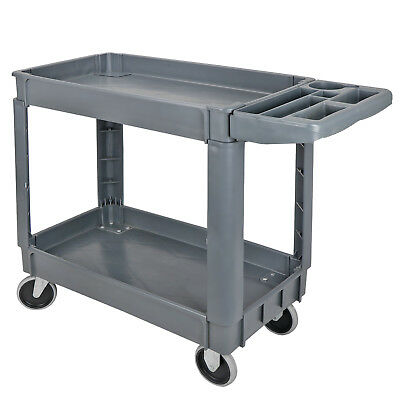 "Plastic Utility Service Cart 550 LBS Capacity 2 Shelves Rolling 40"" x 17"" x 33"""