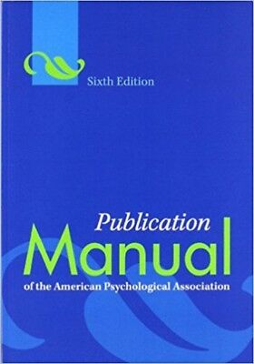 Publication Manual of the American Psychological Association 6th Ed Paperback