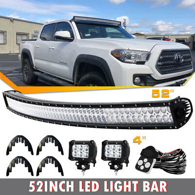 """Offroad 700W 52inch LED Light Bar Curved + 2x 4 """" Pods Truck Roof Driving 4WD"""