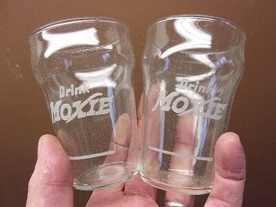 Antique Pair of ETCHED MOXIE Clear 7 OZ. DRINKING GLASSES Unused w/Syrup Line