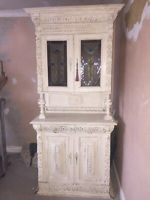 Antique Dresser in cream with original stained glass doors