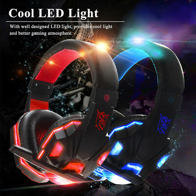 Gaming Headset Headphone for PC with Mic LED Volume Control with USB 3.5mm N4Z2