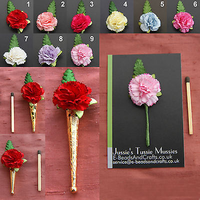 "1 CARNATION: Tussie Mussie Flowers for ""Poirot"" Lapel Pin/Brooch Vases"
