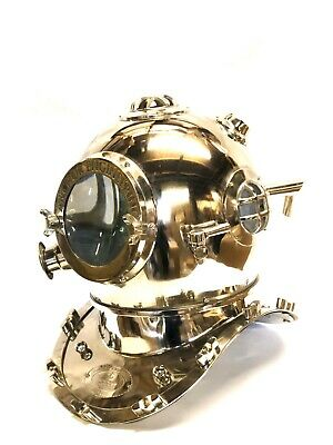 "Reproduction Anchor Engineering Navy Chrome Divers  Helmet 18""s Marine Deep Sea"