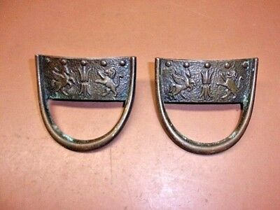 Two (2) SOLID BRASS ORNATE DRAWER PULLS Lion Shield Horse Neat Looking Pair!