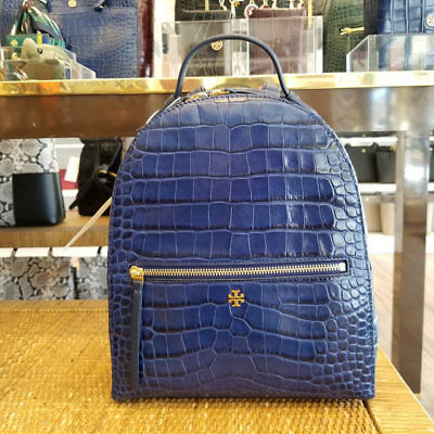 c10a1f0d590 🔴 NEW TAGS Authentic Tory Burch Croc Embossed Backpack Bag Navy ...
