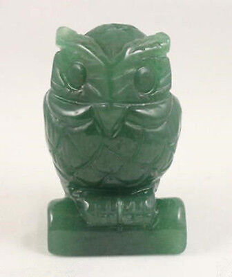 "Green Jade carve Owl statue Hand Carved Owl Gemstone 1.5"" AAA+"