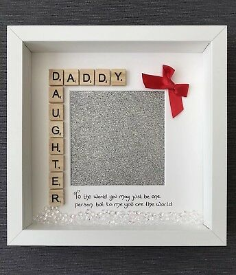 Daddy Daughter Handmade Scrabble Art Photo Frame Christmas Gift For