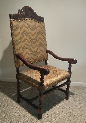 19th C. Ornate Carved French BARLEY TWIST Victorian Black Forest Throne Chair