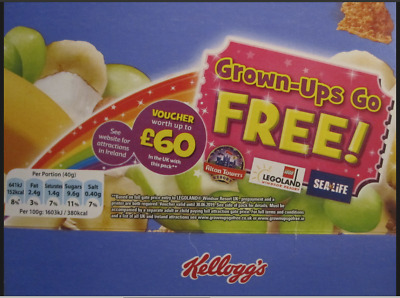 Kelloggs Grown Ups Go Free VOUCHER Alton Towers Chessington Legoland London Eye