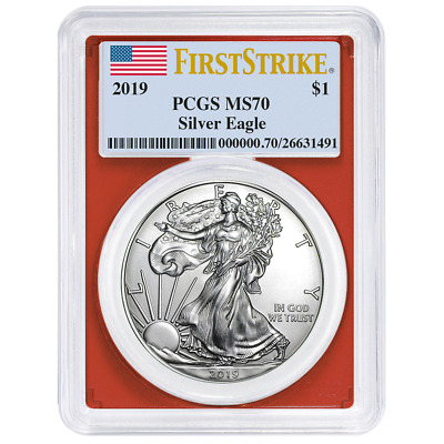 2019 $1 American Silver Eagle PCGS MS70 First Strike Flag Label Red Frame