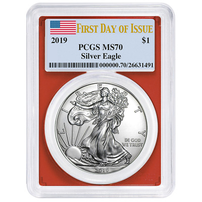 2019 $1 American Silver Eagle PCGS MS70 FDOI Flag Label Red Frame