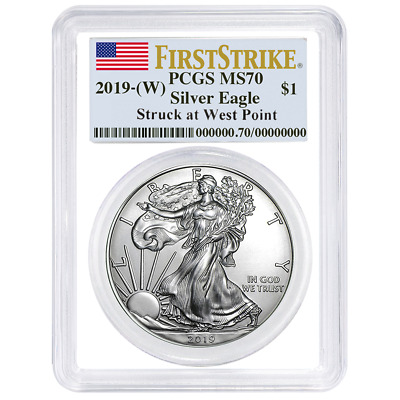 2019 (W) $1 American Silver Eagle PCGS MS70 First Strike Flag Label White Frame