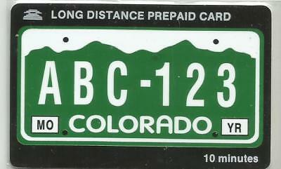 Colorado License Plate Phone Card - 10 min