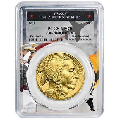 2019 $50 American Gold Buffalo PCGS MS70 First Strike West Point Frame