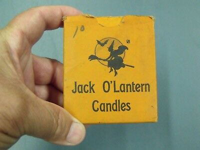 "Unique Halloween Vintage "" Jack O Lantern "" Pumpkin Candles Witch Broom Bat Moon"