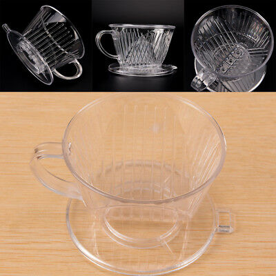 Clear Coffee Filter Cup Cone Drip Dripper Maker Brewer Holder Plastic Reusable #
