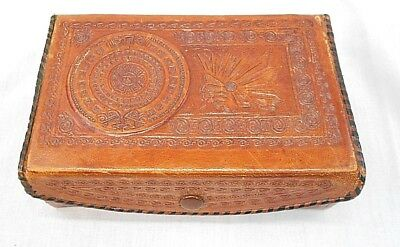 Vintage Mayan Leather Trinket Box, Mexico, Handcrafted
