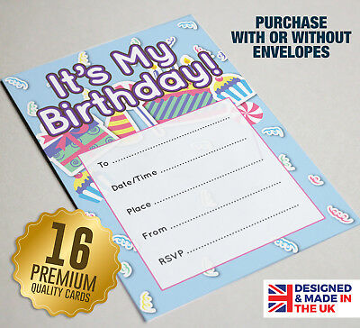 Ideal for Kids Birthday Girls Football Theme Party Invitation 16 A6 Cards