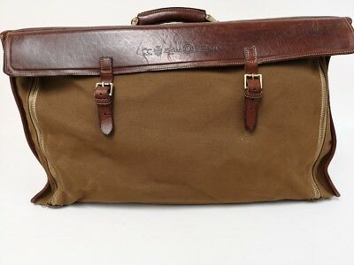 Vintage ( 1980's) Felisi  military-inspired canvas weekend bag with leather trim
