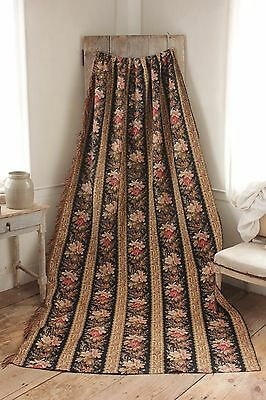 Curtain Antique Black French fabric floral 1880 cretonne printed cotton