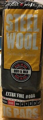 4 Pk Rhodes American Steel Wool  Buff and Wax Extra Fine #000 (NEW)