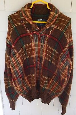Vtg Men's POLO RALPH LAUREN Wool PLAID SWEATER - XL, LG, Brown & Red SHAWL NECK