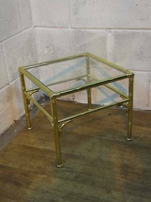 BRASS EFFECT METAL FRAMED COFFEE / SIDE TABLE With GLASS TOP.