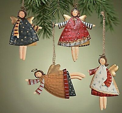 12 Metal Dancing Angel Christmas Ornaments Whimsy Primitive Cabin Lodge Decor