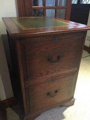 Antique Style Solid Oak Leather Top Filing Cabinet