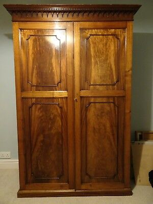 Large Mahogany Wardrobe - pre-WW2, working lock and two rails.