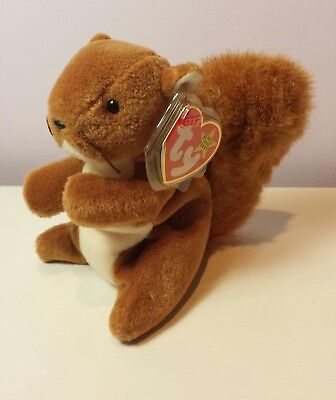EARLY 4th generation tush NWT NUTS the Squirrel Ty Beanie Baby new with tags