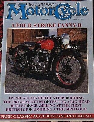 Classic Motorcycle July 1988 Norton model 40, Francis Barnett Red stag,Triumph 4