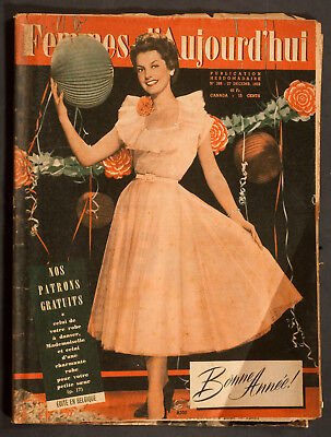 'femmes D'auourd'hui' French Magazine Pattern New Year Issue 27 December 1952