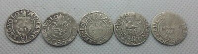 Lot 5pcs. ANCIENT COINS OF EUROPE 1.5 GROSH SILVER 1623-25 year 1/24 Thaler #387