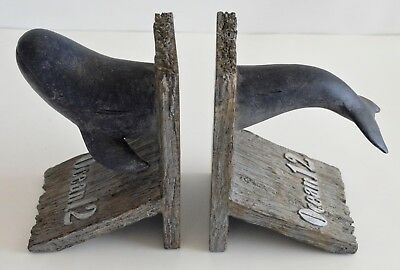 Blue Whale Marine Life Decorative Faux Wood Bookends Set 7 Inch Tall