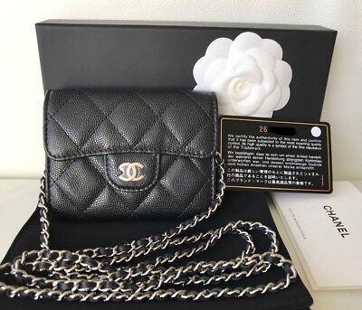 9368e9a2fd7c Chanel 2018 Black Caviar Silver Hw Small Woc Wallet On Chain Credit Card  Case