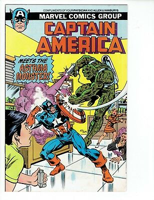 CAPTAIN AMERICA MEETS THE ASTHMA MONSTER Marvel Comic 1988 VG/FN Giveaway