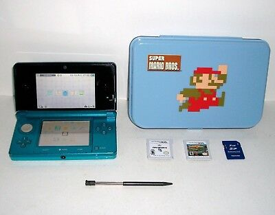 Nintendo 3DS Aqua Blue Bundle With Games Stylus Mario Case SD Tested No Charger