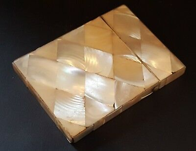 Carved mother of pearl vintage Victorian antique wood treen card case box