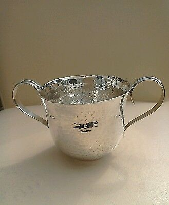 Antique Silver Twin Handle Arts & Crafts Hammered Cup