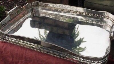 HUGE!!  Antique English Silver Plate Gallery Tray