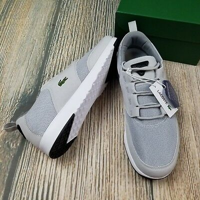 New LACOSTE sz 11.5 mens suede textile light gray and white lace up sneakers e8d72bbe56