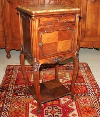 French Antique Walnut Nightstand / Marble Top Side Table | Bedroom Furniture