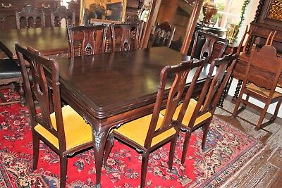 Dark Mahogany Antique Draw Leaf Table & 6 Chairs | Dining Room Furniture Set
