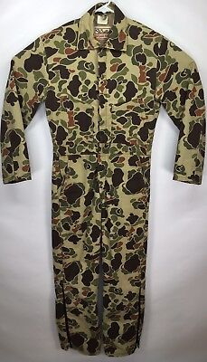 Vintage Walls Blizzard Pruf Woodland Camo Coveralls Insulated Mens Small Regular