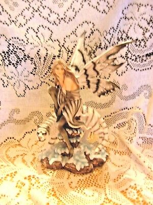 "White And Gray Fairy Riding  Tiger Figurine 10""x 6""x 6""  New In The Box Wig53"